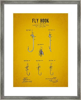 1923 Fly Hook Patent - Yellow Brown Framed Print by Aged Pixel