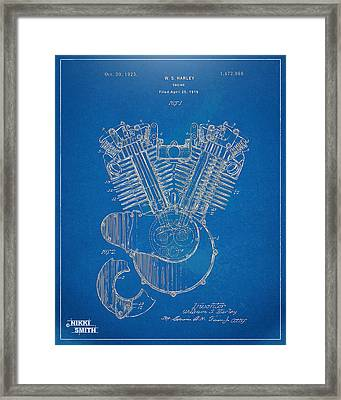 1923 Harley Davidson Engine Patent Artwork - Blueprint Framed Print by Nikki Smith