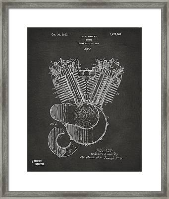1923 Harley Engine Patent Art - Gray Framed Print by Nikki Marie Smith