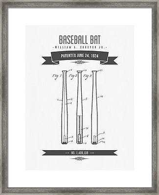 1924 Baseball Bat Patent Drawing Framed Print by Aged Pixel
