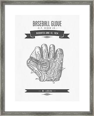 1924 Baseball Glove Patent Drawing Framed Print by Aged Pixel