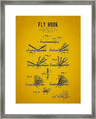 1924 Fly Hook Patent - Yellow Brown Framed Print by Aged Pixel
