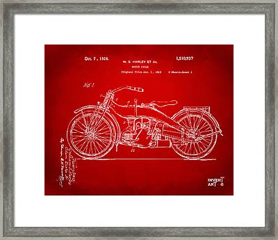 1924 Harley Motorcycle Patent Artwork Red Framed Print by Nikki Marie Smith