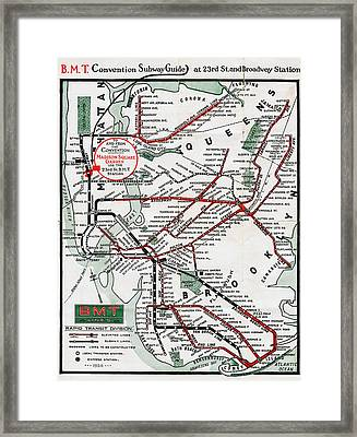 1924 Map Brooklyn Manhattan Transit Framed Print by BMT Lines