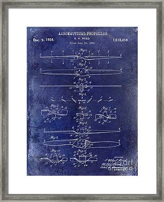 1924 Propeller Patent Drawing Blue Framed Print