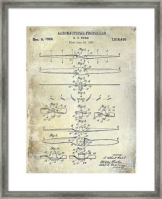 1924 Propeller Patent Drawing Framed Print by Jon Neidert
