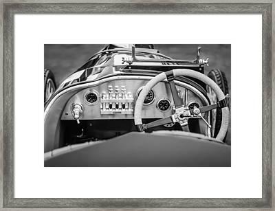 1925 Aston Martin 16 Valve Twin Cam Grand Prix Steering Wheel -0790bw Framed Print by Jill Reger