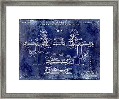 1925 Cigar Moistening Patent Drawing Blue Framed Print
