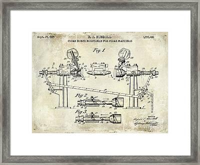 1925 Cigar Moistening Patent Drawing Framed Print