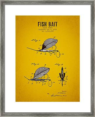 1925 Fish Bait Patent - Yellow Brown Framed Print by Aged Pixel