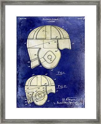 1925 Football Helmet Patent Drawing 2 Tone Blue Framed Print by Jon Neidert