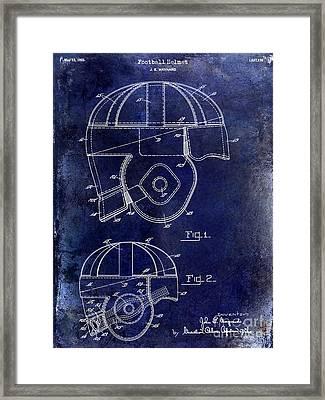 1925 Football Helmet Patent Drawing Blue Framed Print by Jon Neidert