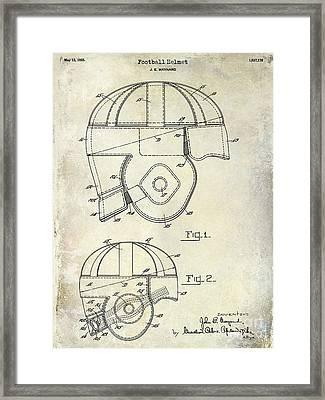 1925 Football Helmet Patent Drawing Framed Print by Jon Neidert