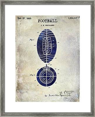 1925 Football Patent Drawing 2 Tone Framed Print