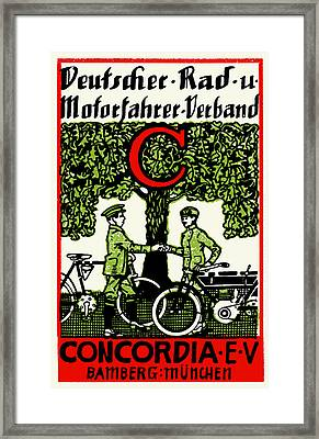 1925 German Bicycle And Motorcycle Club Framed Print by Historic Image