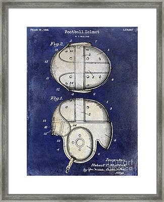 1926 Football Helmet Patent Drawing 2 Tone Blue Framed Print by Jon Neidert