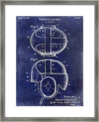 1926 Football Helmet Patent Drawing Blue Framed Print by Jon Neidert