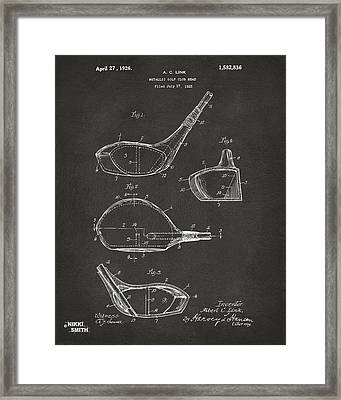 1926 Golf Club Patent Artwork - Gray Framed Print