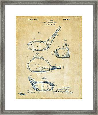 1926 Golf Club Patent Artwork - Vintage Framed Print by Nikki Marie Smith
