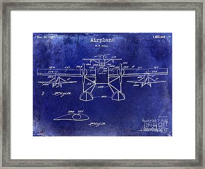 1927 Airplane Patent Drawing Blue Framed Print by Jon Neidert