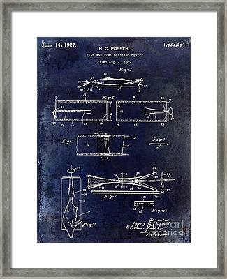 1927 Fish And Fowl Cleaning Device Patent Blue Framed Print
