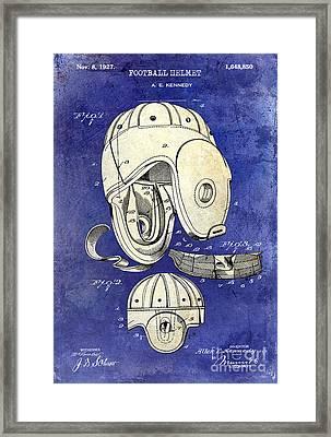 1927 Football Helmet Patent Drawing 2 Tone Blue Framed Print by Jon Neidert