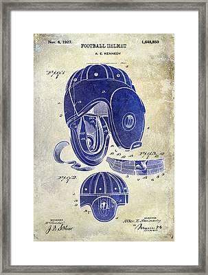 1927 Football Helmet Patent Drawing 2 Tone Framed Print by Jon Neidert