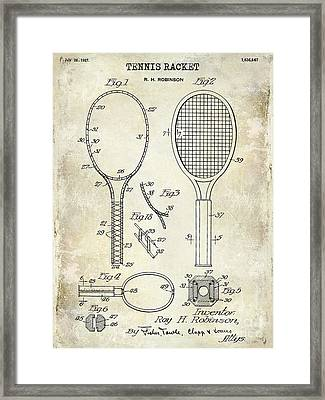 1927 Tennis Racket Patent Drawing  Framed Print