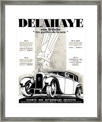 1928 - Delehaye Automobile Advertisement Framed Print