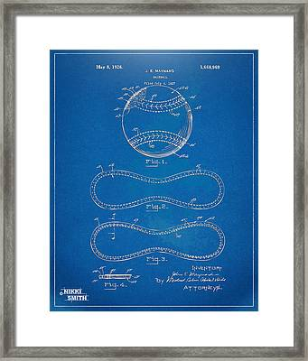 1928 Baseball Patent Artwork - Blueprint Framed Print by Nikki Smith