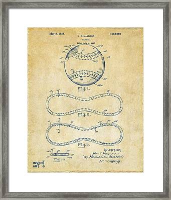 1928 Baseball Patent Artwork Vintage Framed Print by Nikki Marie Smith