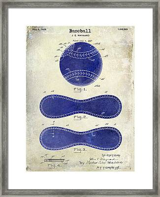 1928 Baseball Patent Drawing 2 Tone Framed Print by Jon Neidert