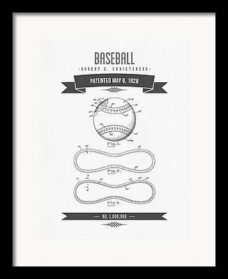 Baseball Drawings Framed Prints