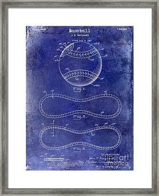 1928 Baseball Patent Drawing  Blue Framed Print by Jon Neidert