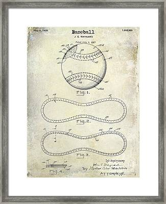 1928 Baseball Patent Drawing  Framed Print by Jon Neidert