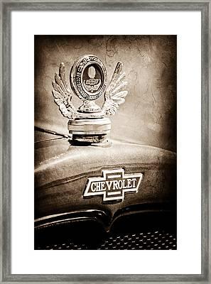 1928 Chevrolet Stake Bed Pickup Hood Ornament - Emblem Framed Print