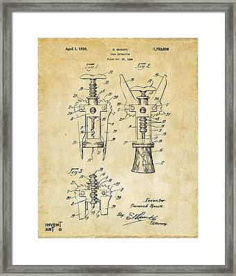 1928 Cork Extractor Patent Art - Vintage Black Framed Print by Nikki Marie Smith