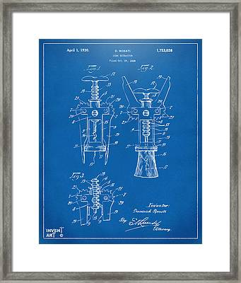 1928 Cork Extractor Patent Artwork - Blueprint Framed Print by Nikki Marie Smith