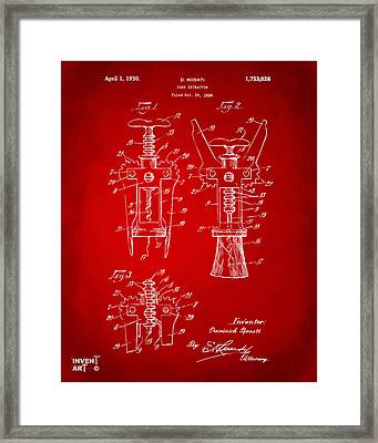 1928 Cork Extractor Patent Artwork - Red Framed Print by Nikki Marie Smith