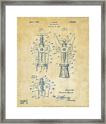 1928 Cork Extractor Patent Artwork - Vintage Framed Print by Nikki Marie Smith