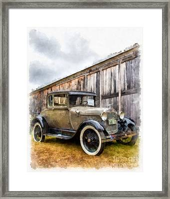 1928 Ford Model A Watercolor Framed Print
