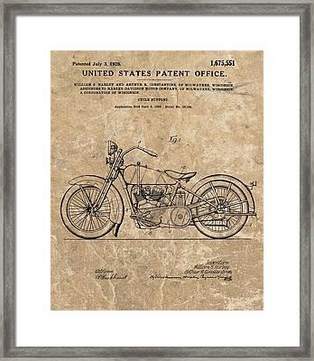 1928 Harley Davidson Motorcyle Patent Illustration Framed Print by Dan Sproul
