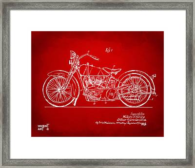 1928 Harley Motorcycle Patent Artwork Red Framed Print by Nikki Marie Smith