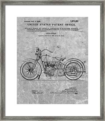 1928 Harley Motorcycle Patent Charcoal Framed Print by Dan Sproul