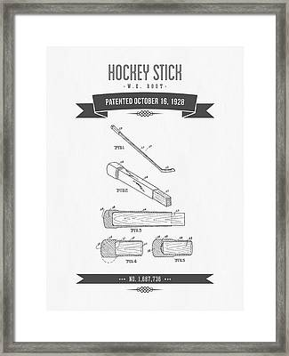 1928 Hockey Stick Patent Drawing - Retro Gray Framed Print by Aged Pixel