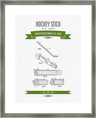 1928 Hockey Stick Patent Drawing - Retro Green Framed Print by Aged Pixel