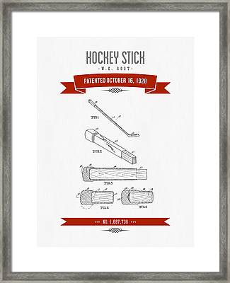 1928 Hockey Stick Patent Drawing - Retro Red Framed Print by Aged Pixel