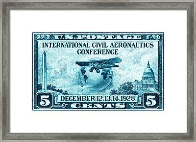 1928 International Civil Aeronautics Stamp Framed Print