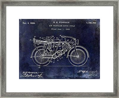 1928 Motorcycle Patent Drawing Blue Framed Print