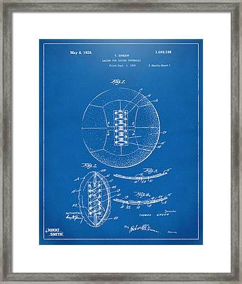 1928 Soccer Ball Lacing Patent Artwork - Blueprint Framed Print by Nikki Marie Smith